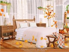 MychQQQ's Fallen Leaves - Bedroom Sims 4 Bedroom, Bedrooms, The Sims 4 Lots, Autumn Leaves, Fallen Leaves, Sims 4 Build, Boho Room, Sims 4 Cc Finds, Sims 4 Custom Content