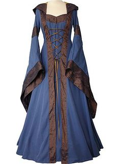 Blue And Brown Medieval Dress Womens Victorian Renaissance Gothic Dress Costume Renaissance Mode, Renaissance Fashion, Renaissance Clothing, Victorian Dress Costume, Gothic Dress, Costume Dress, Victorian Dresses, Royal Dresses, Blue Dresses