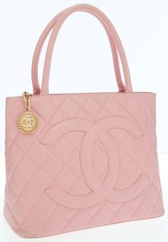Chanel Pink Caviar Leather Medallion Tote Bag with Gold Hardware