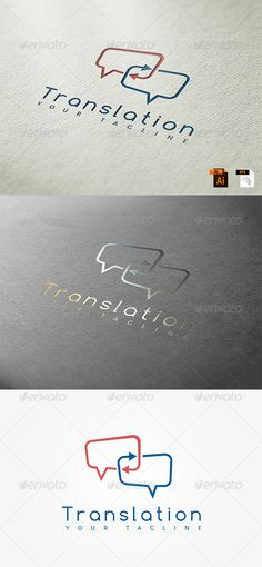 Translation Logo Template by PalThemes DescriptionNice logo suitable for company, bussiness, office and other. It is easy to change the size, color and text Basic design Minimalist Business Cards, Business Logo, Business Card Design, Logos, Logo Branding, Branding Design, Unity Logo, Language Logo, Service Logo