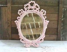 LARGE Oval Vintage Upcycled Wall Mirror - Hand Painted and Distressed. $55.00, via Etsy.