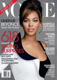 Beyoncé Knowles covers the March 2013 issue of Vogue. Photographed by Patrick Demarchelier.