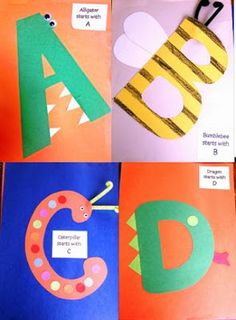 "Last year my students made their own Alphabet Books.  Each time we had a new ""Letter of the Week,"" they put together a new page with glue, c..."