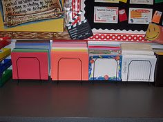 idea to store construction paper, writing paper, fancy paper, etc.  {I love all her organizational ideas, but it seems like she must have endless counter space.}