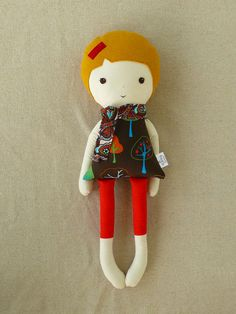 Fabric Doll Rag Doll with Tree Print Dress and Scarf. $32.00, via Etsy.