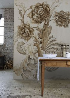 I'm totally crushing on mural wallpaper, and as much as I'm inclined to change things up around our home I think I love it enough to . Interior Inspiration, Design Inspiration, Decoration Inspiration, Wall Design, House Design, Vibeke Design, Turbulence Deco, Interior Decorating, Interior Design