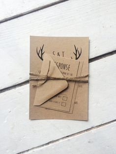 This personalised recycled kraft card and rustic wedding invitation suite is the ideal choice as your first step towards planning your perfect rustic or shabby chic wedding. The invitation is printed 300gsm recycled kraft card, printed in quirky handwrittenl font and finished with twine fastening. The suite also includes a rsvp card and envelopes.  If you wish colours and wording can be changed to coordinate with your event. Please do not be afraid to ask :) Also any additional extras i.e…