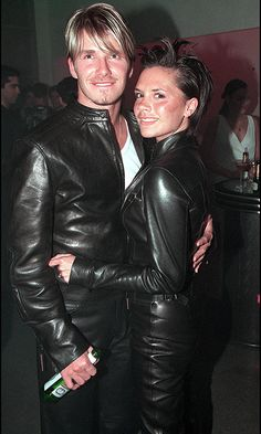 "Oh yes, they've done it before. And they'll do it again and again. This is definitely our favorite David and Victoria Beckham pairing: leather Versace. ""I look back and am like, 'What were we thinking?'"" David told H&M magazine years later."