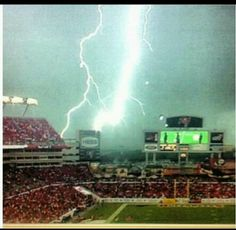 Lighting at the Tampa Bay Bucs game. Lightning capital of the world.  So cool.