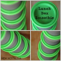 New Nostalgia: School Lunch Smoothies Perfect size containers, thawed to perfection by lunch time. #smoothie #lunchbox #healthyeating
