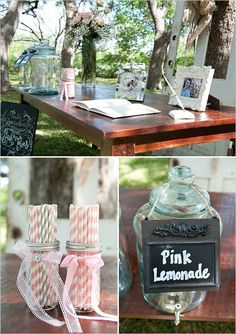 striped paper straws and pink lemonade