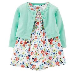She'll look sweet wearing this Carter's girls' ruffled, print bodysuit dress and cardigan set. Baby Girl Dresses, Baby Dress, Dress Set, Carters Baby Girl, Toddler Girl, Baby Girls, Baby Girl Fashion, Kids Fashion, Toddler Outfits