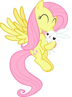 """My Little Pony: Friendship is Magic"" - Fluttershy hugging Angel."