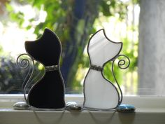 Beginner Stained Glass Patterns | Stained Glass Kitten Window Ornaments