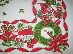VINTAGE-CHRISTMAS-TABLECLOTH-WREATHS-CANDLES-CANDY-CANES-TREES-ETC