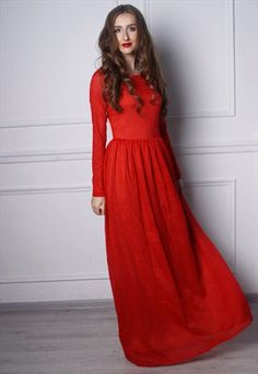 PLUS SIZE RED MAXI LACE EVENING BRIDESMAID FORMAL DRESS