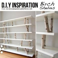 birch shelves with pink shelves