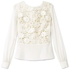 Tory Burch Isabel Top (3,725 MXN) ❤ liked on Polyvore featuring tops, blouses, shirts, sweaters, ivory, white peplum blouse, long sleeve shirts, white lace blouse, white long sleeve shirt and shirts & blouses