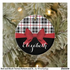 Shop Red and Black Tartan Pattern and Ribbon Modern Ceramic Ornament created by WindUpEgg. Personalized Christmas Ornaments, Diy Christmas Ornaments, Christmas Decorations To Make, Christmas Bulbs, Decorating Ornaments, Holiday Decor, Christmas Ideas, Preppy Christmas, Tartan Christmas