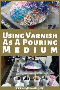 Check out this video on how to use varnish as an acrylic pouring medium.Know more about the perfect consistency in your acrylic pouring mixes. Pour Painting Techniques, Acrylic Pouring Techniques, Acrylic Pouring Art, Painting Lessons, Acrylic Art, Abstract Acrylic Paintings, Abstract Landscape, Flow Painting, Knife Painting