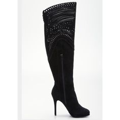 Pour La Victoire Lois Boot in black suede- NWOT High heel boot  Suede upper with cut-out detail, inner side zip closure, and lace-up accent at top  Leather insole and rubber  3¾ inch heel; platform sole¼ inch heel  Shaft height 20 inches; calf circumference 16 inches The boots for sale are black. The photos of the tan are just to show the style from all angles. These boots are brand new and unworn. Sadly, I'm too short for this style boot but they are absolutely gorgeous! Sold with bags they…