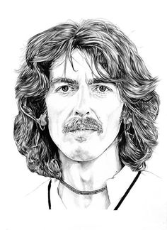 Portrait of George Harrison by ScottBongos on Stars Portraits, the biggest online gallery for celebrity portraits. Celebrity Caricatures, Celebrity Drawings, Celebrity Portraits, Portrait Sketches, Pencil Portrait, Portrait Art, Les Beatles, Beatles Art, Paul Mccartney