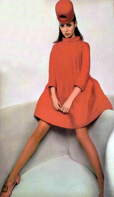 Pierre Cardin Robe Manteau L'Officiel Magazine 1968 Playing on the furniture, minus the hat.-Megan