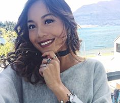 Beautifull Alexandra Hoang from www.gigglesndimples.com wearing our Atrani bangle in silver with white zirconias