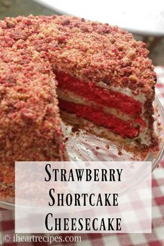 cheesecake recipes How to make a easy homemade strawberry shortcake cheesecake with 4 layers of strawberry cake, creamy cheesecake, whipped cream cheese frosting, and crunchy strawberry flavored cookie crumbles! Strawberry Shortcake Cheesecake, Homemade Strawberry Shortcake, Cheesecake Pops, Easy Cheesecake Recipes, Dessert Recipes, Strawberry Crunch Cake, Shortcake Recipe, Homemade Cheesecake, Strawberry Cheesecake Cake Recipe