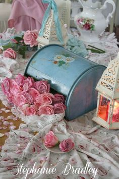 Shabby Chic decoration things stuff floral vintage tin teapot candle