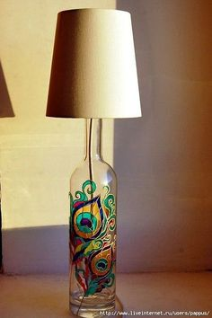 """40 Intelligent Ways to Use Your Old Wine Bottles - A lovely way to use up old wine bottles – DIY wine bottle lamp with glass painted designe """"A lo - Old Wine Bottles, Recycled Wine Bottles, Wine Bottle Art, Painted Wine Bottles, Decorated Bottles, Bottles And Jars, Diy With Glass Bottles, Wine Bottles Decor, Liquor Bottle Lights"""