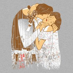 Star Wars Han Solo and Princess Leia The Kiss T-Shirt inspired by the Gustav Klimt painting. #starwars #hansolo #leia #princessleia #thekiss #gustavklimt #painting http://www.feistees.com/star-wars-han-and-leia-the-kiss-t-shirt/