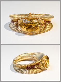 René Boivin – Bracelet – 1945 Or / Citrine / Rubis / Diamants Certificat de Madame Françoise Cailles Dessin de Juliette Moutard