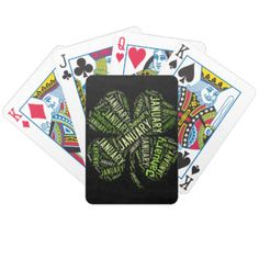 #January Four Leaf Clover Bicycle Playing #Cards