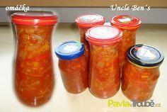 Omáčka Uncle Ben´s Sage Recipes, Hot Sauce Bottles, Salsa, Mason Jars, Smoothie, Stuffed Mushrooms, Food And Drink, Homemade, Vegan