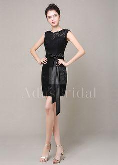 [85.71] Elegant Lace Sheath Jewel Neckline Short Bridesmaid Dress - adasbridal.com