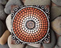 """Punto arte, pintura de diseño de la tierra, auténtico punto aborígenes por Biripi artista Raechel Saunders, 4 """"x 4"""" lona tablero, pintura de acrílico, decoración marrón"""