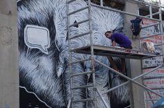"""Pedro Sega en el Proyecto """"Muros"""".#ArteTabacalera Promoción del Arte #ArteUrbano #StreetArt Madrid Día 5 #Arterecord 2014 https://twitter.com/arterecord"""