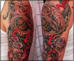 Goat Head And Flower Tattoo On Half Sleeve