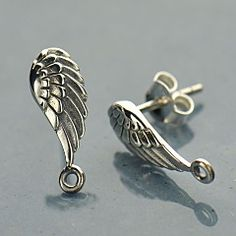 Wings symbolize a desire to let your spirit soar, to rise above a challenge and regain your clarity of thought. With beautiful detailed feathers, this post earring tops make a wonderful base for magical earring designs. http://www.ninadesigns.com/bali_bead_shop/sterling_silver_wing_post_earring_tops/at1384/details/r