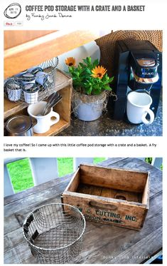 A DIY coffee station with just a crate and a fry basket... via www.funkyjunkinte...