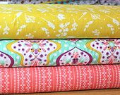 Green Coral Yellow and Purple Floral Damask, Floriography by Pink Fig Design for Riley Blake Designs, 1 Yard Bundle, 3 Prints Total