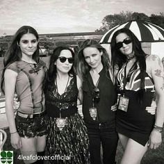 Credit to @4leafclover.official : Andrea and Sharon with members of the @dolls_s_p_d, backstage Isle of Wight Festival. @andreacorrofficial @sharoncorrofficial @jim_corr  @carolinecorrofficial #thecorrs #corrs  #AndreaCorr #SharonCorr #CarolineCorr #JimCorr #irish #music #band #family #whitelight #whitelighttour #TheSexPissedDolls
