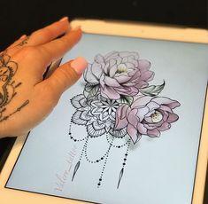 19 Ideas For Thigh Tattoo Designs Disney Mandala Tattoo Shoulder, Mandala Rose Tattoo, Mandala Tattoo Sleeve, Mandala Tattoo Design, Full Sleeve Tattoos, Tattoo Designs, Tattoo Flowers, Mandela Flower Tattoo, Colorful Mandala Tattoo