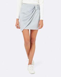 Jacqueline Knot Wrap Mini Skirt - Faux suede