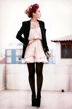 pink pleated dress and long black blazer | le happy