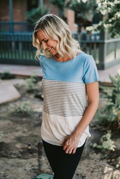 The Calyx Striped Tee in Blue
