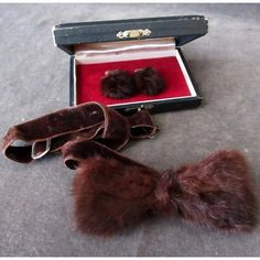 Vintage Mink Bow Tie and Matching Fur Cuff Links with Original Box