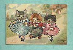C1920'S POSTCARD A. E. KENNEDY - THREE LITTLE KITTENS PROUD OF THEIR MITTENS