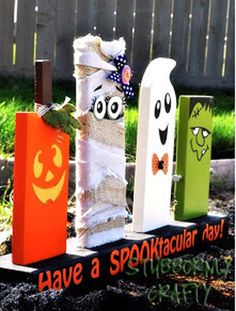 Simple, CUTE Halloween Decor Using A 2x4! Feel Free To Make It Your Own And Have Fun With The Characters! #DIYHalloween #mobilehomes #homesforrent #homesforsale #Halloween2013